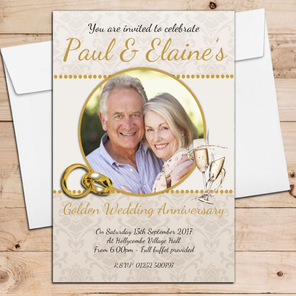 10 Year Wedding Anniversary Invitations: 10 Personalised 50th Golden Wedding Anniversary